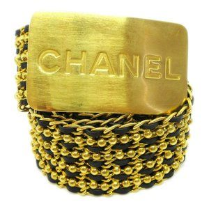 CHANEL CC Logos Charm Gold Chain Belt Leather Acce